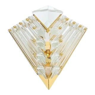Pair of Triangular Crystal and Brass Murano Sconces, circa 1970 For Sale