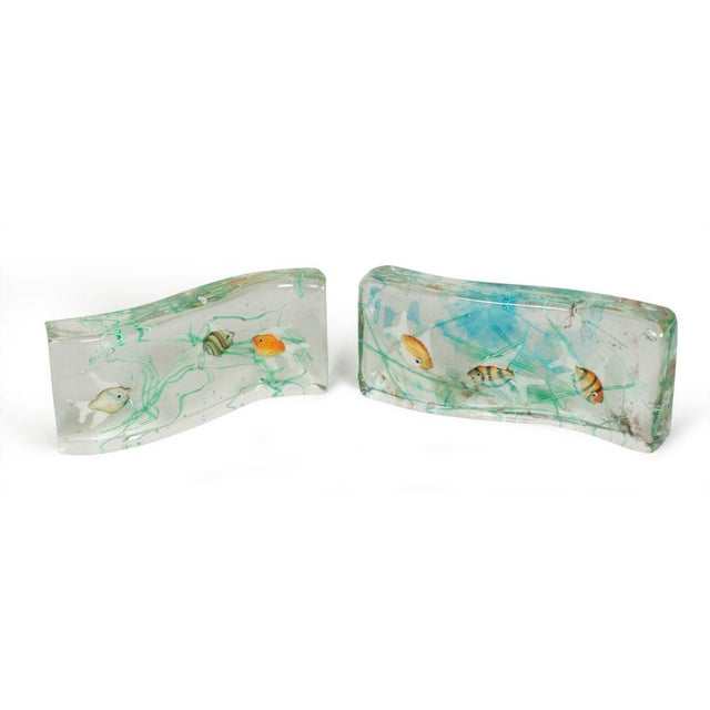 Alfredo Barbini Cenedese Glass Fish Blocks - a Pair - Image 3 of 7