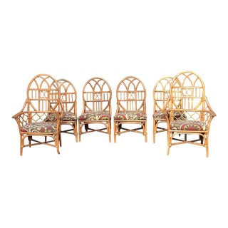 Vintage Mid Century Rattan Dining Chairs- Set of 6 For Sale