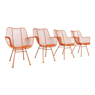 Set of 4 Mid-Century Modern Woodard Sculptura Outdoor Arm Chairs For Sale