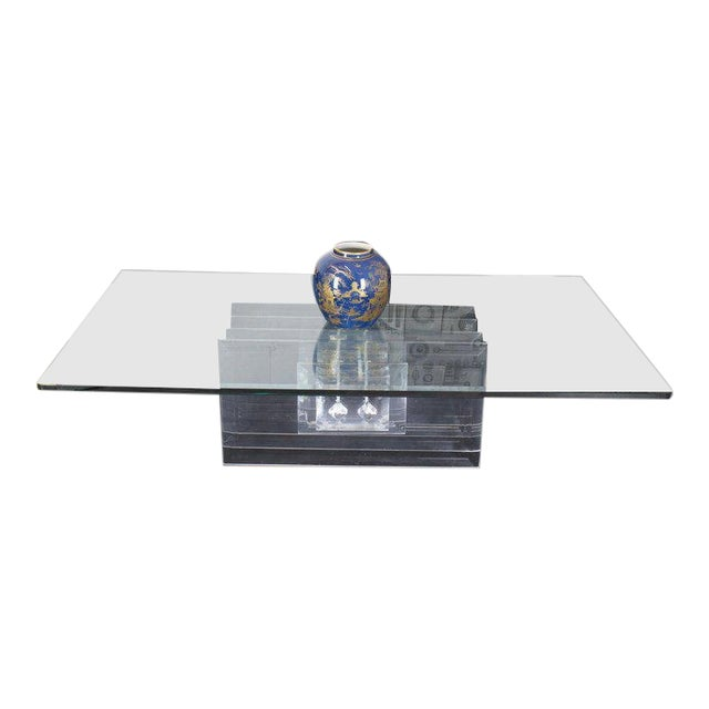 Large Rectangular Glass Top Thick Stack Lucite Blades Base Coffee Table For Sale