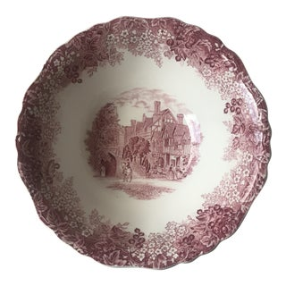 """Vintage Red Toile """"Romantic England"""" Collection Serving Bowl For Sale"""