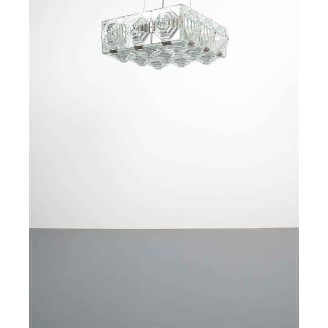Kamenicky Senov Bohemian glass flush mount ceiling lamp, Czechia, circa 1960. Set of seven identical ceiling lights,...