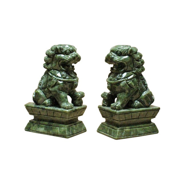 Arts & Crafts Chinese Green Stone Carved Foo Dog Fengshui Figures - a Pair For Sale - Image 3 of 7