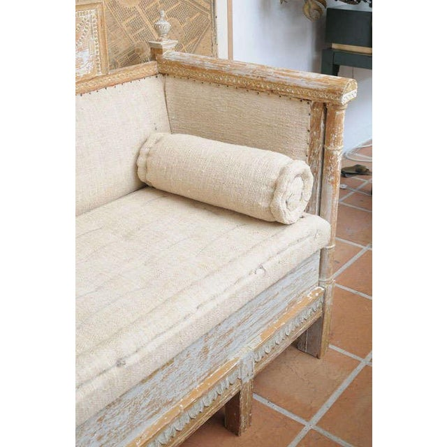 Gustavian (Swedish) Early Gustavian Bench With Beautiful Carved Decoration All Around. For Sale - Image 3 of 11