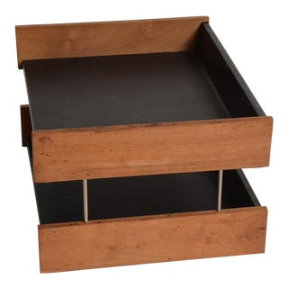 Mid Century Modern Office Desk Accessory, Teak Wood &B Faux Leather Service Tray For Sale