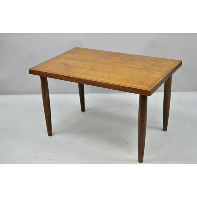 Mid 20th Century Mid Century Modern Walnut Rectangular Side Table For Sale - Image 5 of 11