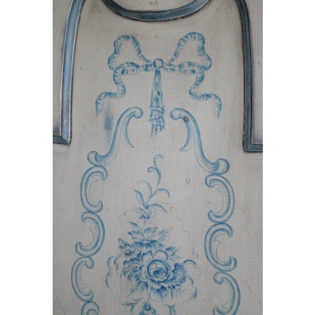 Shabby Chic Cream and Blue King Headboard - Image 3 of 5