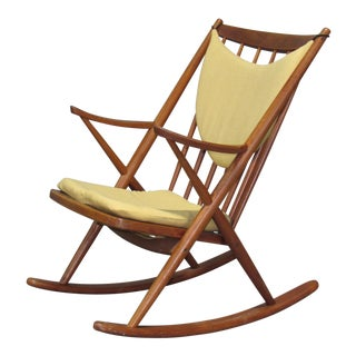 1960s Danish Modern Frank Reenskaug for Brahmin Teak Rocking Chair For Sale