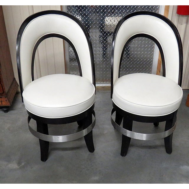 Wood Mid-Century Modern Swiveling Club Chairs - a Pair For Sale - Image 7 of 7