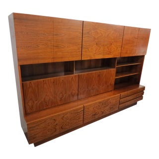 Vintage 1960s German Mid-Century Modern Rosewood 2-Piece Wall Unit or Cabinet For Sale