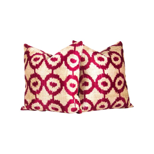 Geometric Red & Ivory Silk Ikat Pillow A Pair - Image 1 of 3