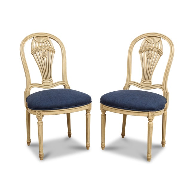 Louis XVI 1940s Vintage Balloon Back Chairs- Set of 4 For Sale - Image 3 of 5