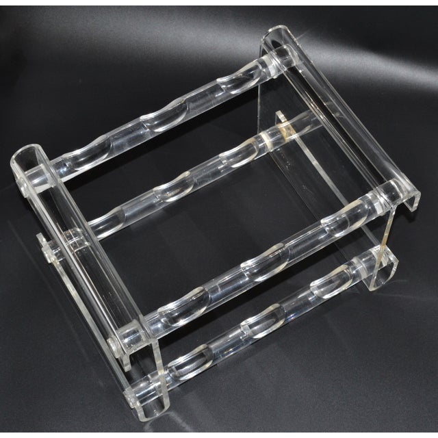Sculptural Lucite or Acrylic Wine Rack, Beverage Stand which holds 6 bottles. Can be placed on Top of a Table, Bar or...