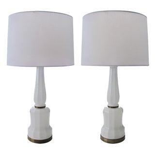 Fine Pr of Danish White Opaline Lamps by Bing&Groendahl Heiberg For Sale