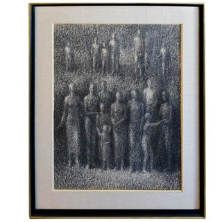 "1960s Vintage ""The Witnesses"" Graphite Sketch by Stevan Kissel For Sale"