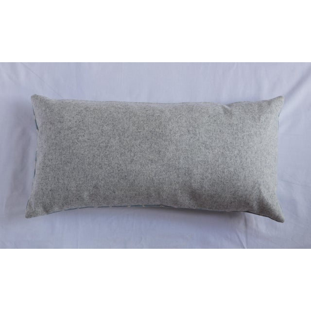 Lumbar pillow with blue half moon pattern fabric on front with solid gray fabric on back. Simple yet elegant design will...