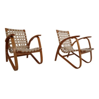 Jan Vanek Bentwood Lounge Armchairs With Woven Straps in Blond Patina, 1930 - a Pair For Sale