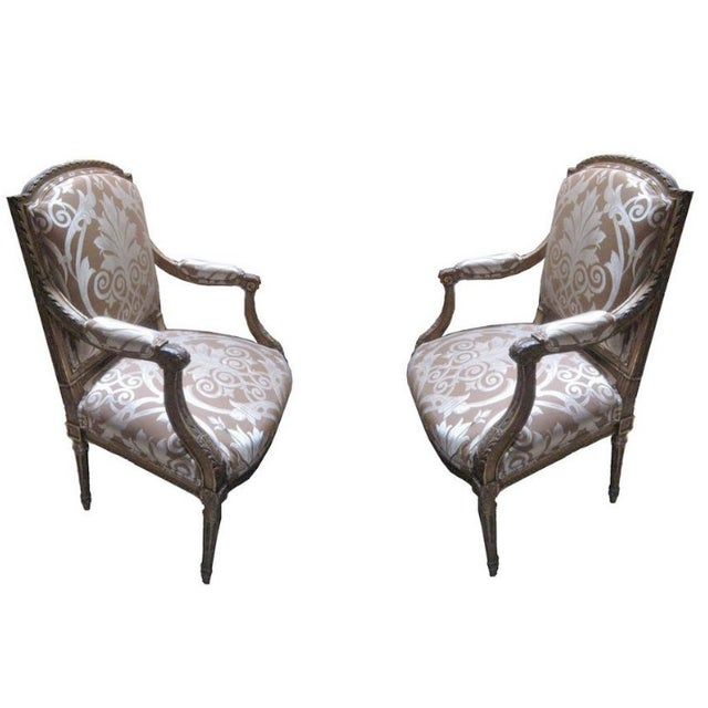 Italian 19th Century Italian Parcel Arm Chairs- A Pair For Sale - Image 3 of 3