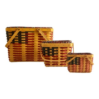 Vintage Longaberger 25th Anniversary Collection American Flag Maple Baskets – Set of 3 For Sale