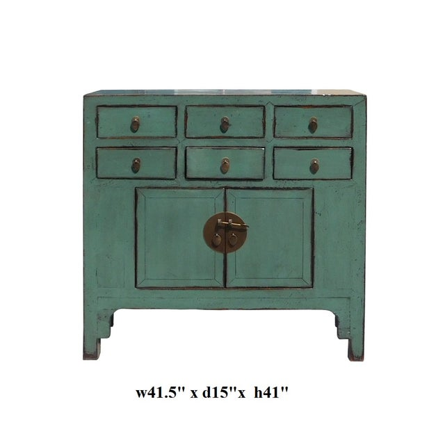 Gray Blue Lacquer 6-Drawer Credenza Cabinet For Sale In San Francisco - Image 6 of 6