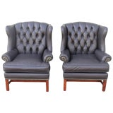 Image of Pair of Mid-CenturyCharcoal Black Leather Wing Chair For Sale