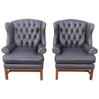 Pair of Mid-CenturyCharcoal Black Leather Wing Chair For Sale