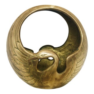 Art Deco Brass Swan Planter For Sale