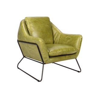 Lime Green Leather Club Chair For Sale