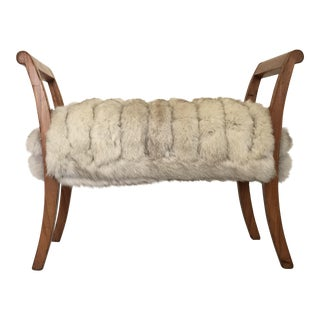 Antique Walnut Wood and Fox Fur Footstool Bench For Sale