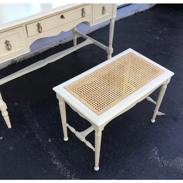 1930's Adams Style Vanity W/Mirror Cane Bench For Sale - Image 10 of 11