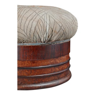 Art Deco Rosewood and Maple Pouf with Jacquard Upholstery, Italy, 1920s For Sale