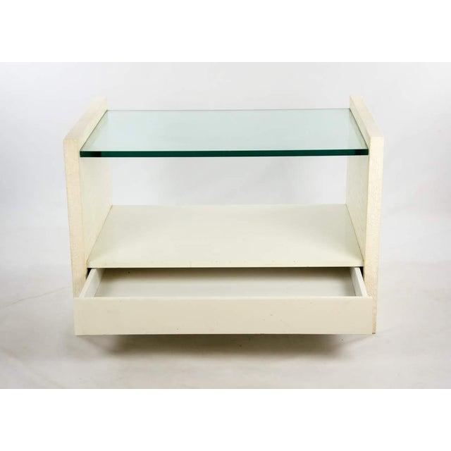 Mid-Century Modern Karl Springer Albino Python Glass Top Side Table For Sale - Image 3 of 13