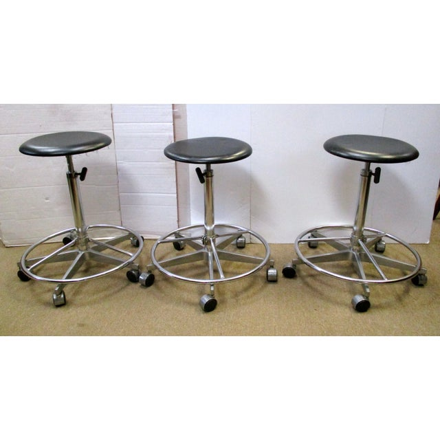 Industrial Adjustable Metal Rolling Stools - Set of 3 - Image 2 of 4