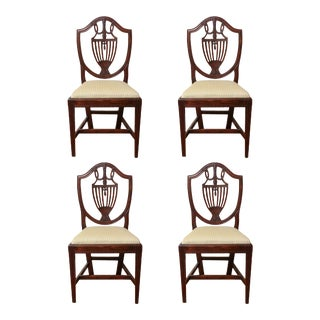 19th Century Italian Neoclassical Shield Back Mahogany Side Chairs - Set of 4 For Sale
