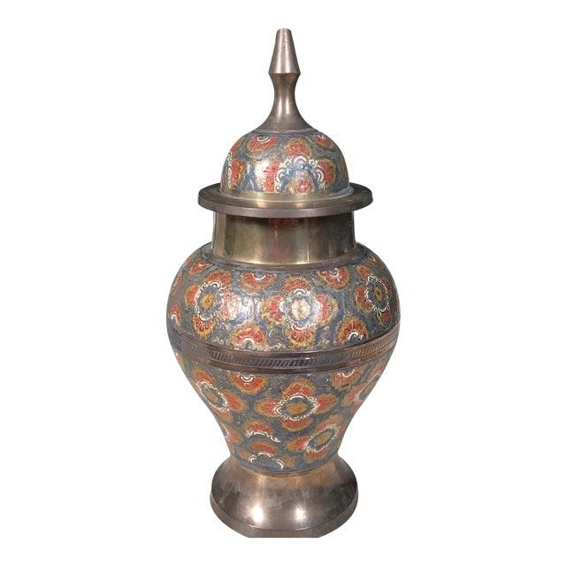 Vintage Brass Enameled Urn - Image 1 of 3