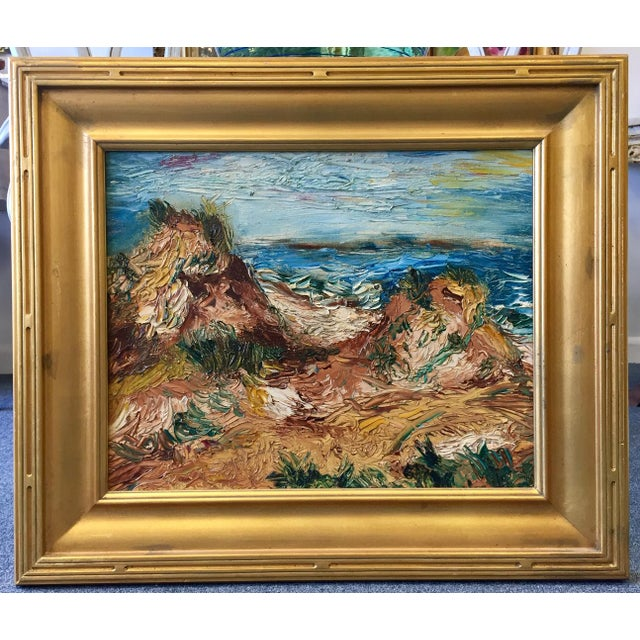 Vintage 1963 original oil on canvas painting of Fire Island in substantial gold frame. Dated on the back.