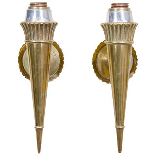 Pair of Vintage Bronze Sconces Attributed to Genet and Michon For Sale