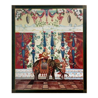 """Vintage Hand Painted French Tapestry on Canvas """"Indian Elephant"""" For Sale"""