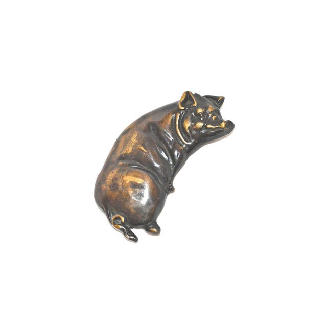 Country Smiling Pig Brass Door Knocker For Sale - Image 3 of 9