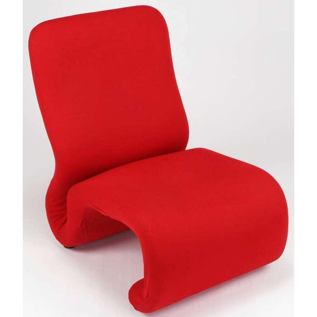 1970s Swedish Modern Red Wool Ribbon Chair For Sale - Image 5 of 9