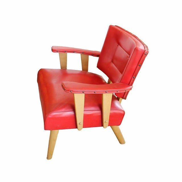 Mid-Century Modern Red Arm Chair - Image 3 of 4