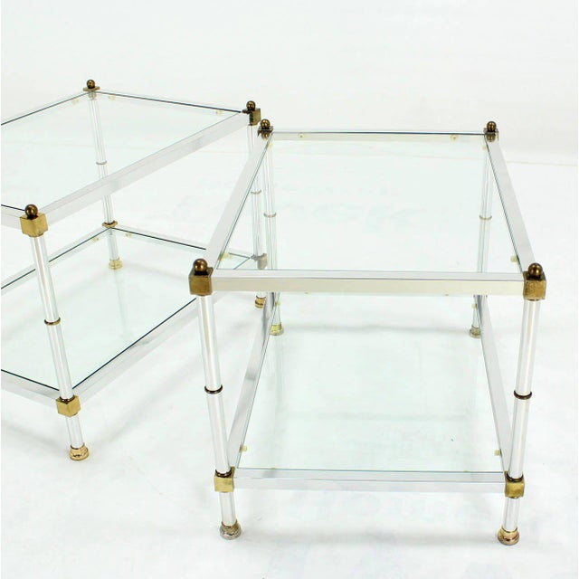 1980s Pair of Mid-Century Modern Glass Brass Chrome Side or End Tables For Sale - Image 5 of 5