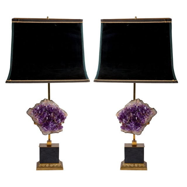 Mid 20th Century Maison Jansen Amethyst Lamps With Shades - a Pair For Sale - Image 5 of 5