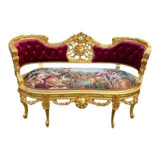 2020's French Louis XVI Style Sofa Burgundy Velvet. For Sale
