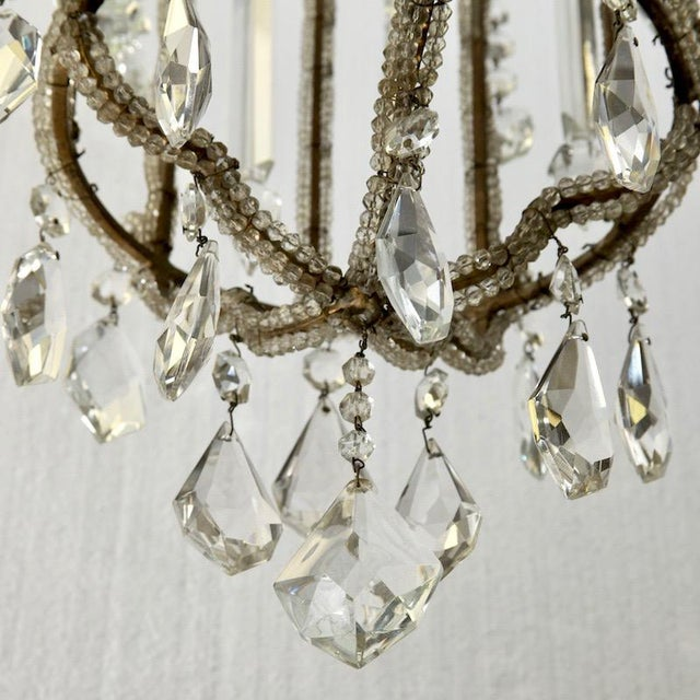 French Crystal Lantern Style Chandelier with Beading - Image 3 of 5