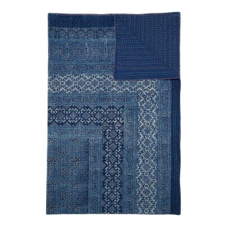 Samara Hand Stitched Quilted Tablecloth, 6-seat table - Indigo For Sale