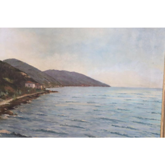 Canvas 20th Century Oil Painting on Canvas Signed Landscape of the Italian Coast For Sale - Image 7 of 9