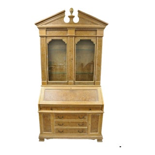 20th CenturyItalian Neoclassical Chapman Burl Wood Patchwork Olivewood Tall Secretary Desk For Sale