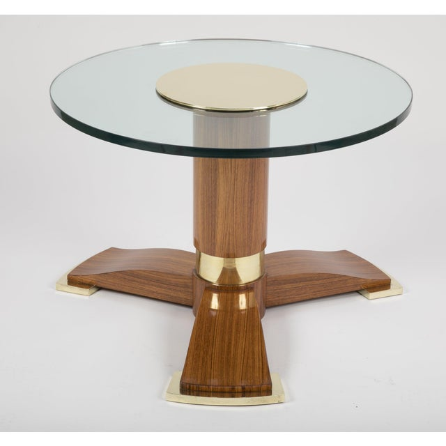 Jules Leleu Mahogany, Bronze and Glass Coffee Table For Sale - Image 12 of 13